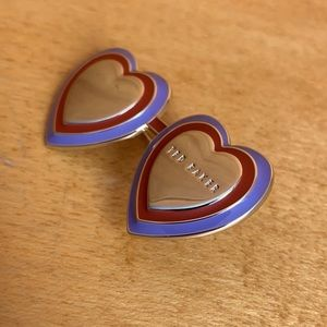 Ted Baker 💜❤️ Double Heart Pin Brooch Accessory